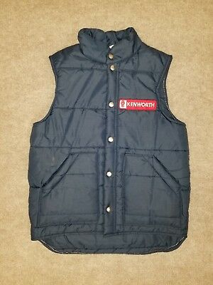 KENWORTH Lacy Mens Blue Vintage Employee Trucking Made in USA KW Puffer Vest S