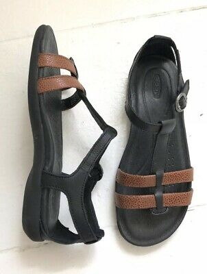 f855eb387be4 Keen 5 Rose City T-Strap Leather Sandals Flats Black Brown Women s NEW in  Box
