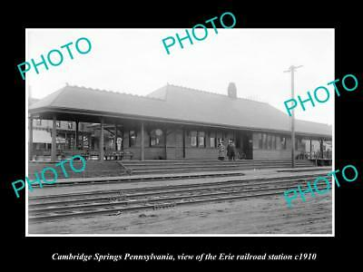 Old Historic Photo Of Cambridge Springs Pennsylvania, Erie Railroad Depot 1910 1