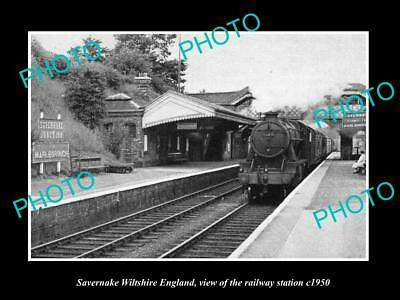 OLD LARGE HISTORIC PHOTO OF SAVERNAKE WILTSHIRE ENGLAND RAILWAY STATION c1950