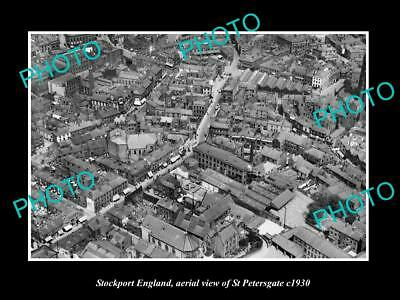 Old Large Historic Photo Of Stockport England, Aerial View Of St Petersgate 1930