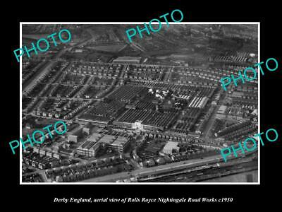 Old Large Historic Photo Derby England, Aerial View Of Roll Royce Factory 1950 2