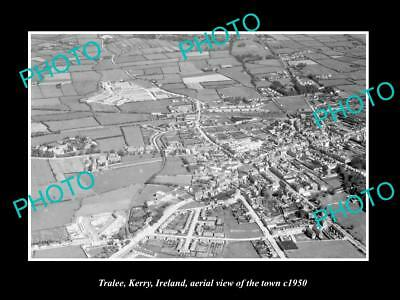 OLD LARGE HISTORIC PHOTO OF TRALEE KERRY IRELAND, AERIAL VIEW OF TOWN c1950 3