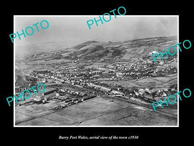 OLD LARGE HISTORIC PHOTO OF BURRY PORT WALES, AERIAL VIEW OF THE TOWN c1930