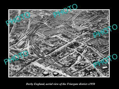 OLD LARGE HISTORIC PHOTO DERBY ENGLAND, AERIEL VIEW OF FRIARGATE DISTRICT c1950