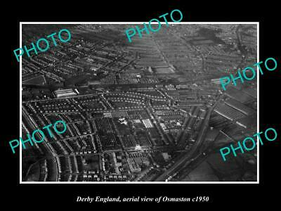 OLD LARGE HISTORIC PHOTO DERBY ENGLAND, AERIAL VIEW OF OSMASTON c1950