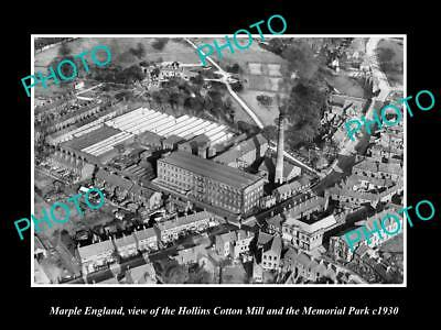 OLD LARGE HISTORIC PHOTO OF MARPLE ENGLAND, VIEW OF THE COTTON MILL & PARK c1930