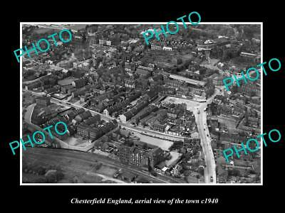 OLD LARGE HISTORIC PHOTO OF CHESTERFIELD ENGLAND, AERIAL VIEW OF TOWN c1940 2