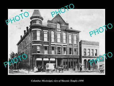 OLD LARGE HISTORIC PHOTO OF COLUMBUS MISSISSIPPI, VIEW OF MASONIC TEMPLE c1890