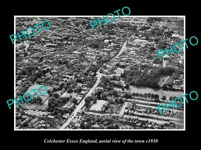 OLD LARGE HISTORIC PHOTO OF COLCHESTER ENGLAND, AERIAL VIEW OF THE TOWN c1930