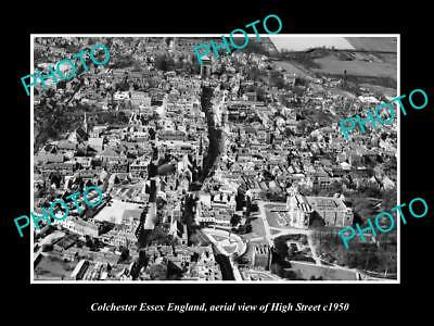 OLD LARGE HISTORIC PHOTO OF COLCHESTER ENGLAND, AERIAL VIEW OF HIGH STREET c1950