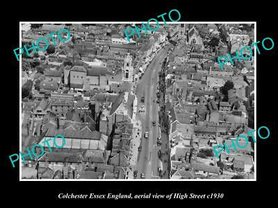 OLD LARGE HISTORIC PHOTO OF COLCHESTER ENGLAND, AERIAL VIEW OF HIGH STREET c1930