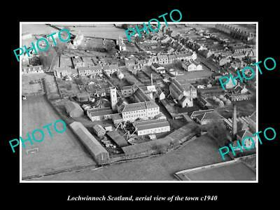 OLD LARGE HISTORIC PHOTO OF LOCHWINNOCH SCOTLAND, AERIAL VIEW OF TOWN c1940 2