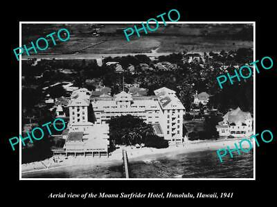 OLD LARGE HISTORIC PHOTO HONOLULU HAWAII, THE MOANA SURFRIDER HOTEL c1941