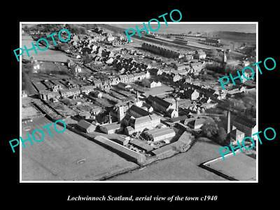 OLD LARGE HISTORIC PHOTO OF LOCHWINNOCH SCOTLAND, AERIAL VIEW OF TOWN c1940 1