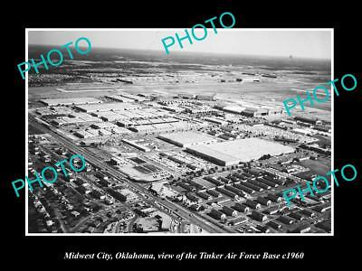OLD LARGE HISTORIC PHOTO OF MIDWEST CITY OKLAHOMA, TINKER AIR FORCE BASE c1960