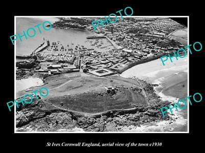 OLD LARGE HISTORIC PHOTO OF ST IVES CORNWALL ENGLAND, TOWN AERIAL VIEW c1930 2