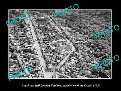 OLD LARGE HISTORIC PHOTO BUCKHURST HILL LONDON ENGLAND, AERIAL VIEW c1950 1