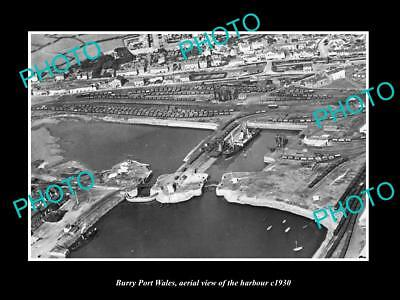 OLD LARGE HISTORIC PHOTO OF BURRY PORT WALES, AERIAL VIEW OF THE HARBOUR c1930