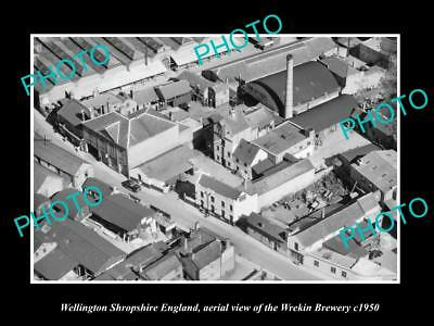 OLD LARGE HISTORIC PHOTO OF WELLINGTON SHROPSHIRE ENGLAND, WREKIN BREWERY c1950
