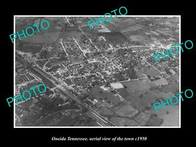 OLD LARGE HISTORIC PHOTO ONEIDA TENNESSEE, AERIAL VIEW OF THE TOWN c1950