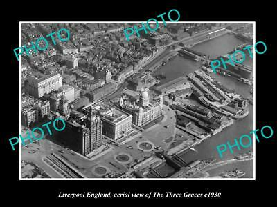 OLD LARGE HISTORIC PHOTO OF LIVERPOOL ENGLAND, AERIAL VIEW OF THREE GRACES c1930