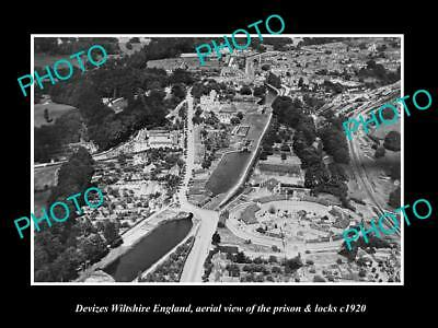 OLD LARGE HISTORIC PHOTO OF DEVIZES WILTSHIRE ENGLAND, THE PRISON & LOCKS c1920