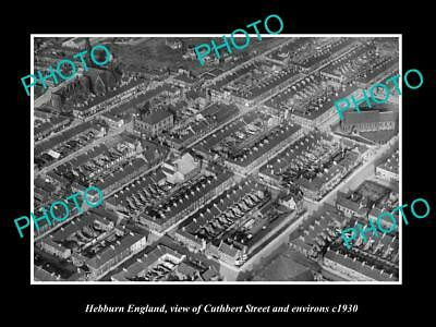 OLD LARGE HISTORIC PHOTO HEBBURN ENGLAND, AERIAL VIEW OF CUTHBERT ST c1930