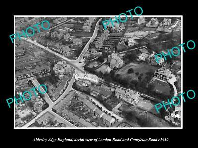 OLD LARGE HISTORIC PHOTO OF ALDERLEY EDGE ENGLAND, AERIAL VIEW OF TOWN c1930 2