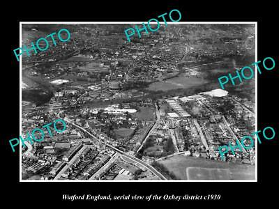 OLD LARGE HISTORIC PHOTO WATFORD ENGLAND, AERIAL VIEW OF OXHEY c1930