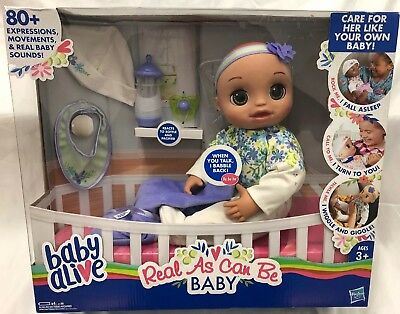 Baby Alive Real As Can Be Baby Realistic Brunette Baby Doll 80+ Lifelike Expr...
