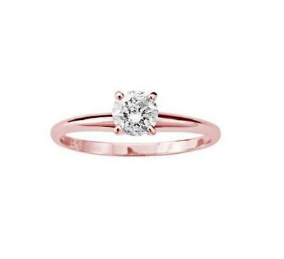 Real Diamond Solitaire Engagement Ring 0.35Ct Prong Set 14KT Solid Gold 5.15MM
