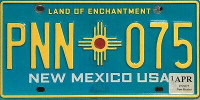 USA Number Licence Plate NEW MEXICO BLUE