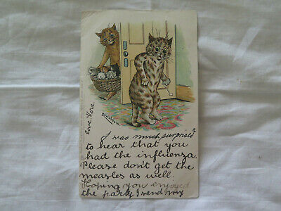 LOUIS WAIN COMICAL POSTCARD CATS & KITTENS in BASKET 1902 STARTLED TOM CAT