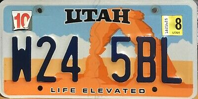 USA Number Licence Plate UTAH LIFE ELEVATED