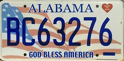 USA Number Licence Plate ALABAMA GOD BLESS AMERICA