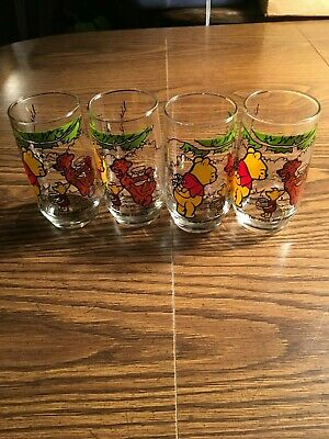 Vintage 4 Winnie The Pooh And Friends Sears Juice Glass Flowers and Hunny 1970s*