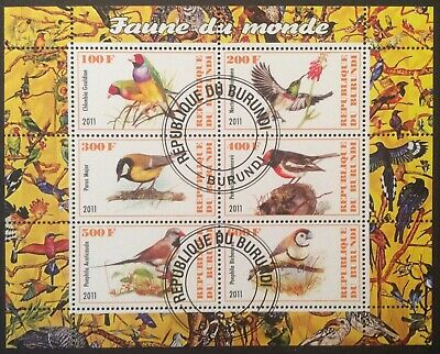 World Stamps Rep Burundi 2011 1 MS Birds 6 Stamps Fine CTO Stamps (B6-178)