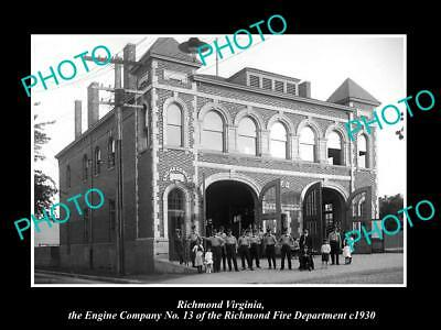 OLD LARGE HISTORIC PHOTO OF RICHMOND VIRGINIA, THE FIRE DEPARTMENT STATION c1930