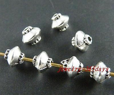 400pcs Tibet Silver Little Bicone Bead Spacers 5x3mm zn664