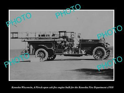 OLD LARGE HISTORIC PHOTO OF KENOSHA WISCONSIN, THE FIRE DEPARTMENT TRUCK c1930 2