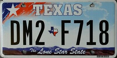 USA Number Licence Plate TEXAS LIGHT BLUJE SKY