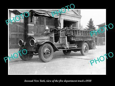 OLD LARGE HISTORIC PHOTO OF INWOOD NEW YORK FIRE DEPARTMENT TRUCK c1930