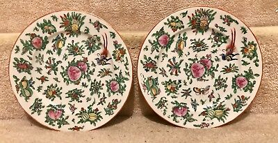 Lovely Pair Of Vintage Chinese Rose Butterflies Birds Fruits Porcelain Plates