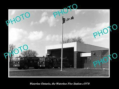 OLD LARGE HISTORIC PHOTO OF WATERLOO ONTARIO CANADA, THE FIRE STATION c1970