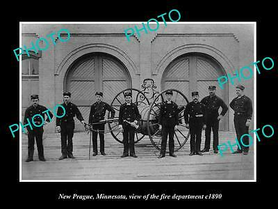 OLD LARGE HISTORIC PHOTO NEW PRAGUE MINNESOTA, THE TOWN FIRE BRIGADE c1890