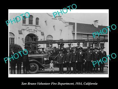 OLD LARGE HISTORIC PHOTO OF SAN BRUNO FIRE DEPARTMENT STATION, c1934 CALIFORNIA