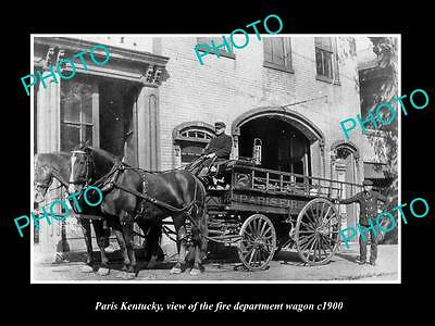 OLD LARGE HISTORIC PHOTO OF PARIS KENTUCKY, THE FIRE DEPARTMENT WAGON, c1900