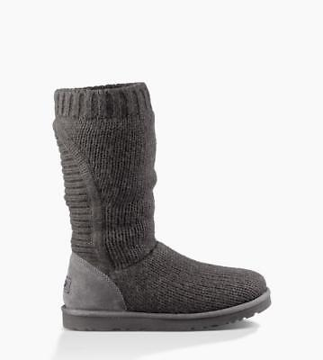 684a18ccfa8 UGG AUSTRALIA WOMEN'S Capra Ribbed Knit Shearling Lined Boots Black ...