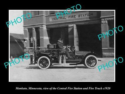 OLD LARGE HISTORIC PHOTO OF MANKATO MINNESOTA, CENTRAL FIRE STATION TRUCK c1920